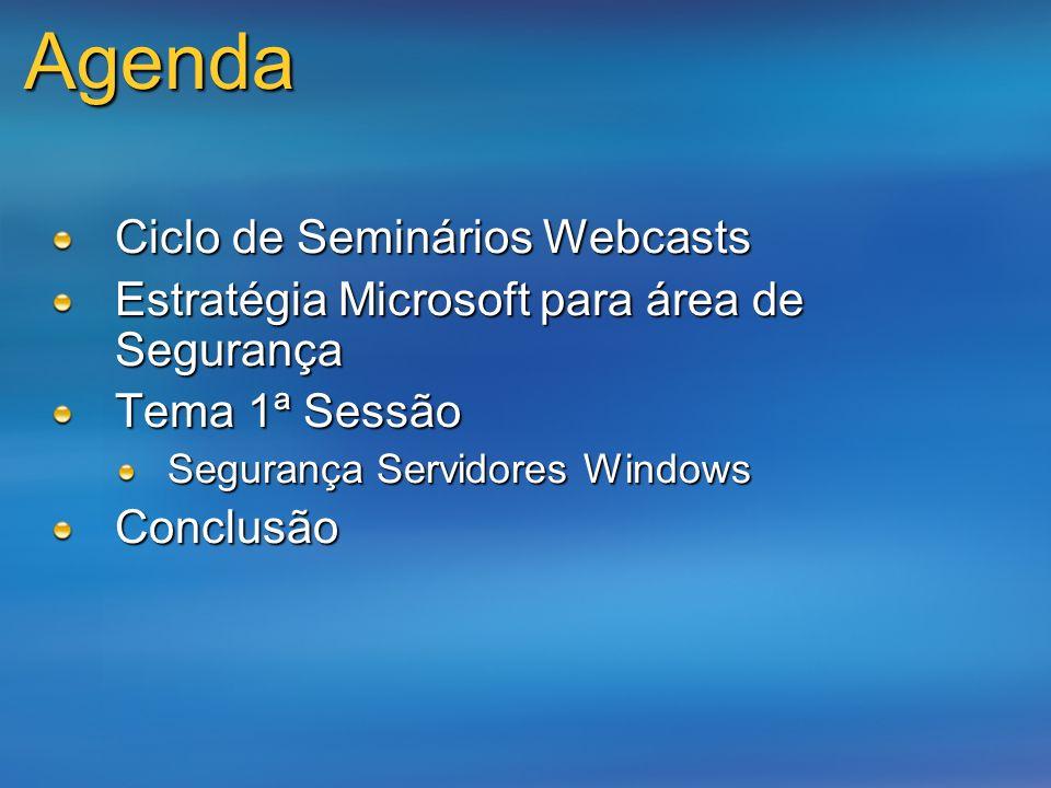 Agenda Ciclo de Seminários Webcasts Estratégia Microsoft para área de Segurança Tema 1ª Sessão Segurança Servidores Windows Conclusão