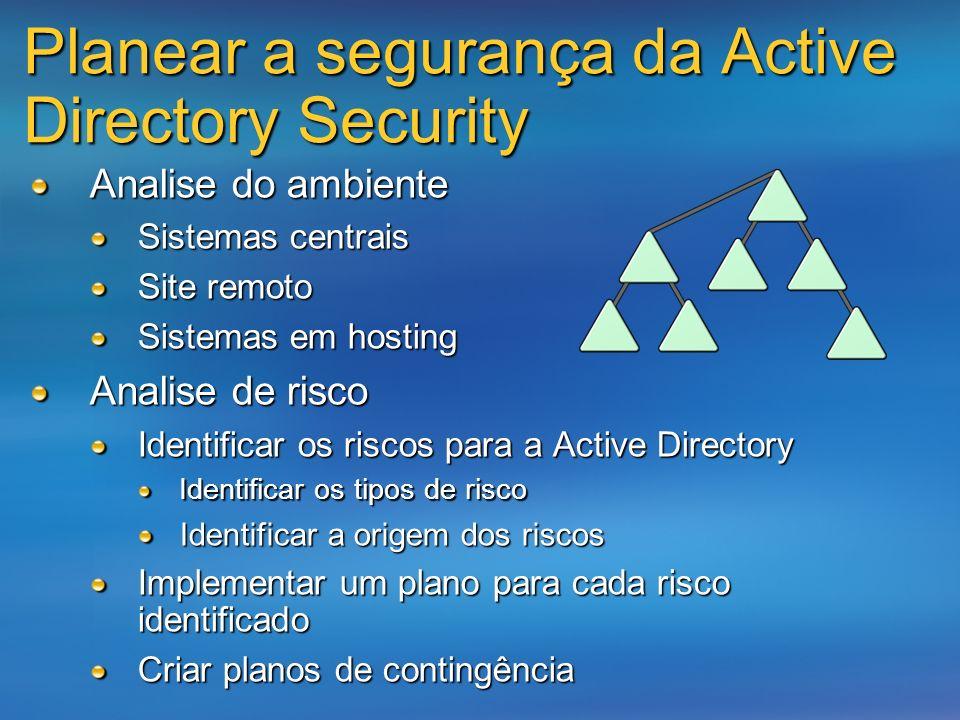 Planear a segurança da Active Directory Security Analise do ambiente Sistemas centrais Site remoto Sistemas em hosting Analise de risco Identificar os