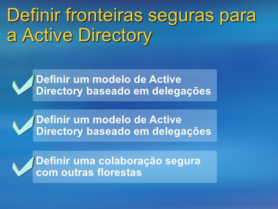 Definir fronteiras seguras para a Active Directory Definir uma colaboração segura com outras florestas Definir um modelo de Active Directory baseado e