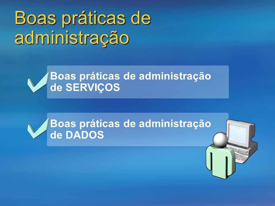 Boas práticas de administração Boas práticas de administração de SERVIÇOS Boas práticas de administração de DADOS