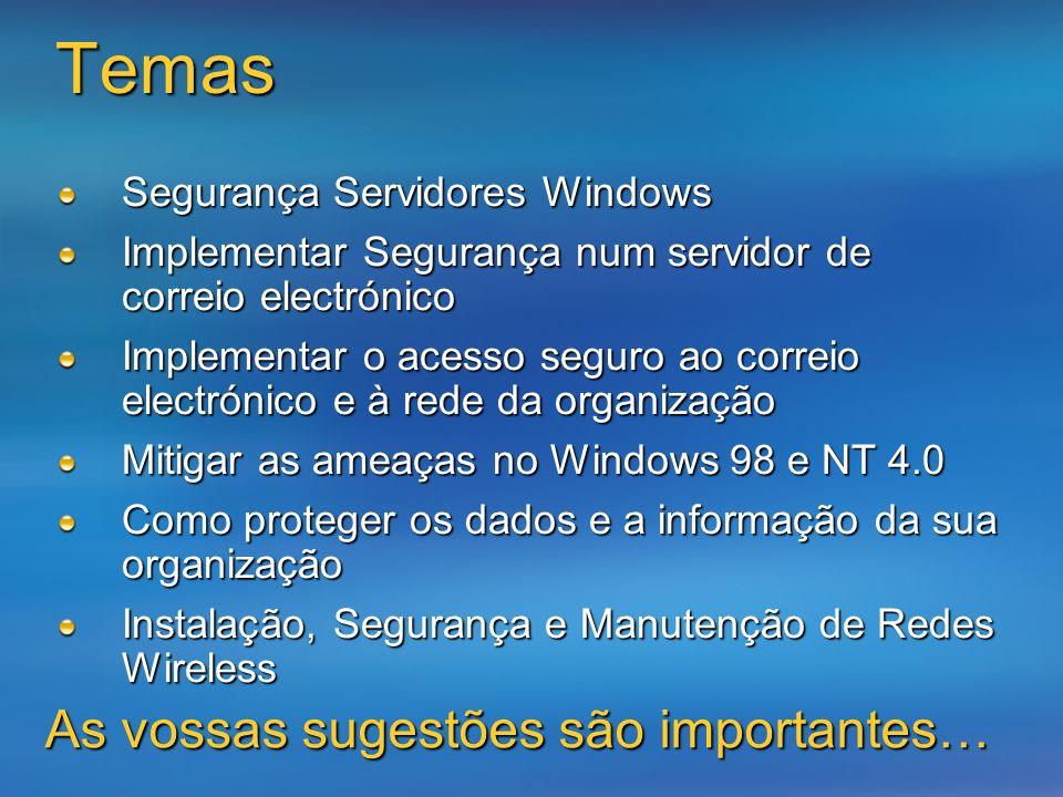 Temas Segurança Servidores Windows Implementar Segurança num servidor de correio electrónico Implementar o acesso seguro ao correio electrónico e à re