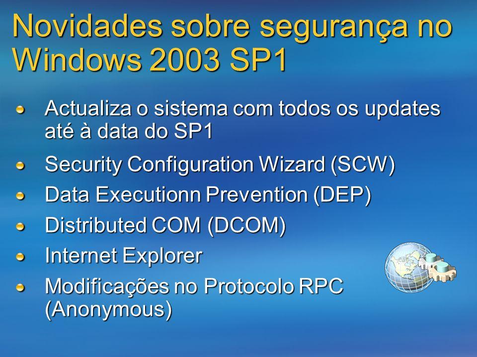 Novidades sobre segurança no Windows 2003 SP1 Actualiza o sistema com todos os updates até à data do SP1 Security Configuration Wizard (SCW) Data Exec