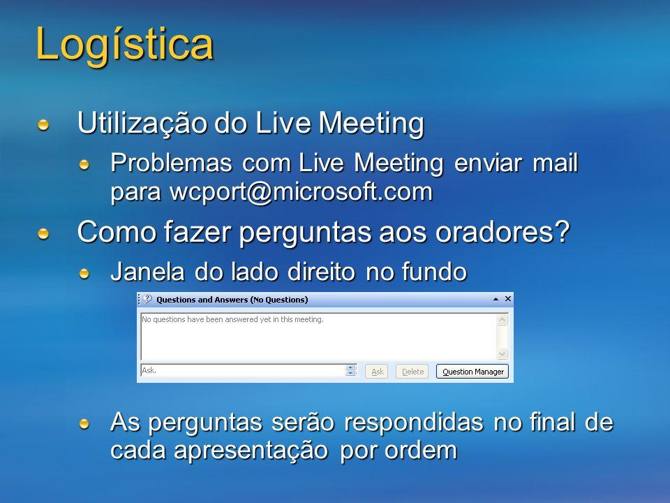 Logística Utilização do Live Meeting Problemas com Live Meeting enviar mail para wcport@microsoft.com Como fazer perguntas aos oradores? Janela do lad