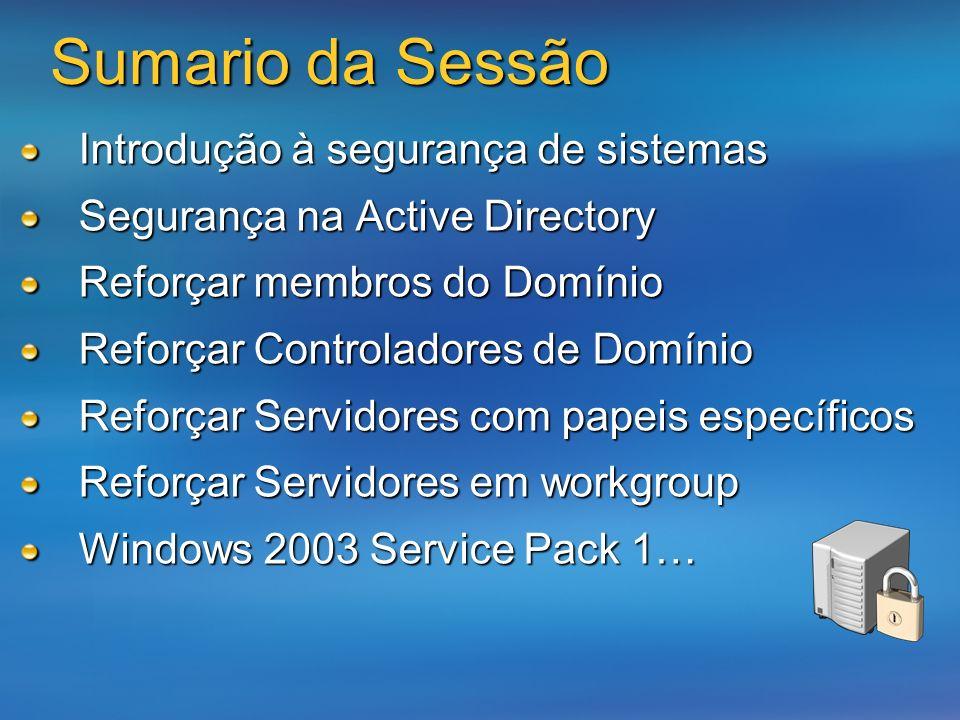 Sumario da Sessão Introdução à segurança de sistemas Segurança na Active Directory Reforçar membros do Domínio Reforçar Controladores de Domínio Refor