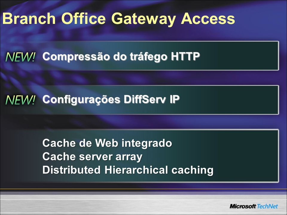 Branch Office Gateway Access Compressão do tráfego HTTP Configurações DiffServ IP Cache de Web integrado Cache server array Distributed Hierarchical c