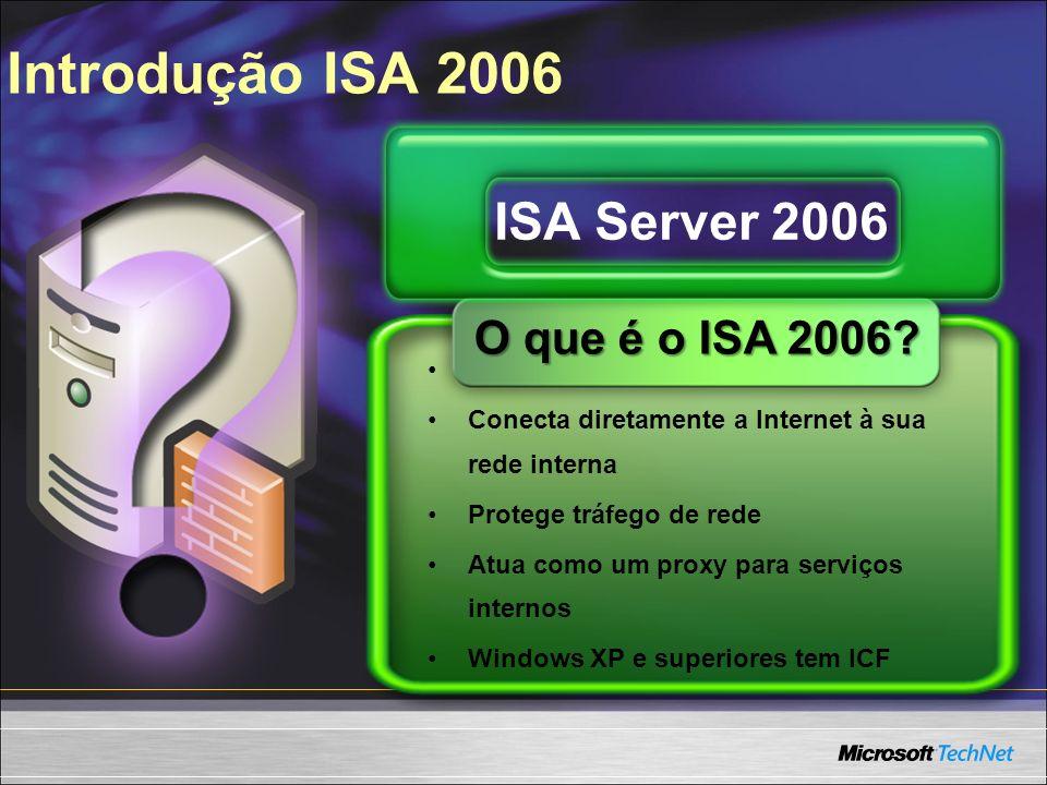Protege recursos Conecta diretamente a Internet à sua rede interna Protege tráfego de rede Atua como um proxy para serviços internos Windows XP e supe