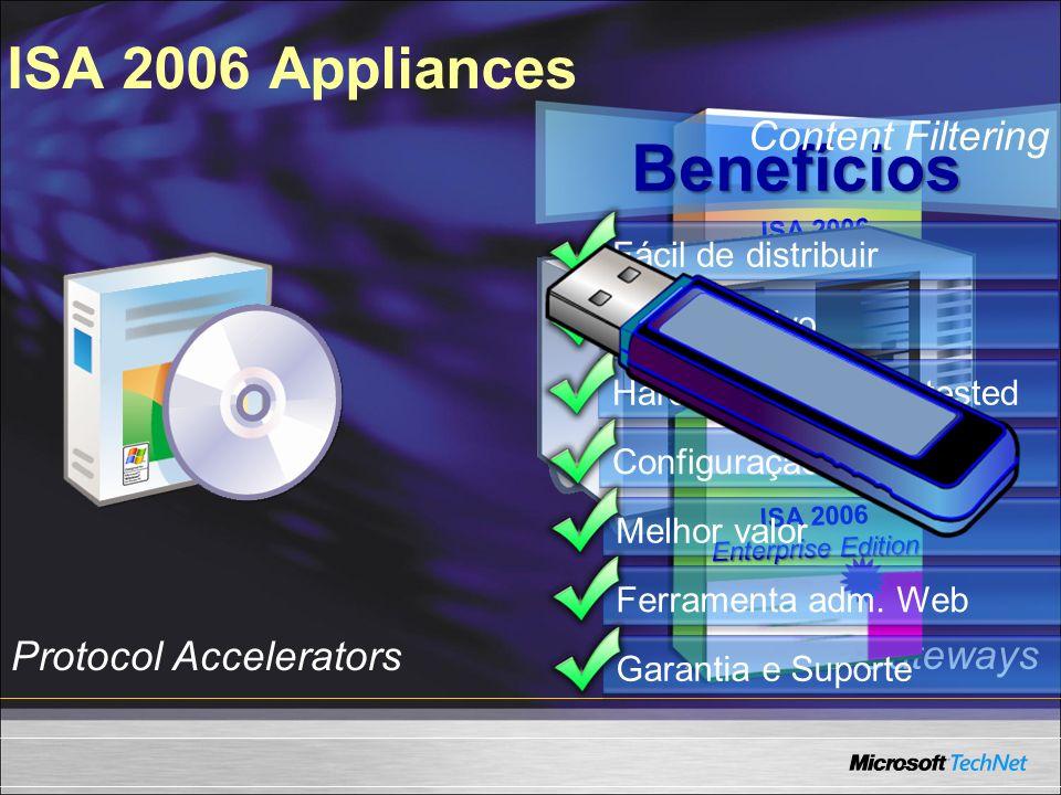 Autenticação multi-fator melhorada Delegação de autenticação melhorada BITS caching (SP2 ISA2004) Resistencia flood melhorada (DoS, DDoS) Resistencia worm melhorada Alert triggers e respostas Segurança Integrada O que tem de novo no ISA 2006
