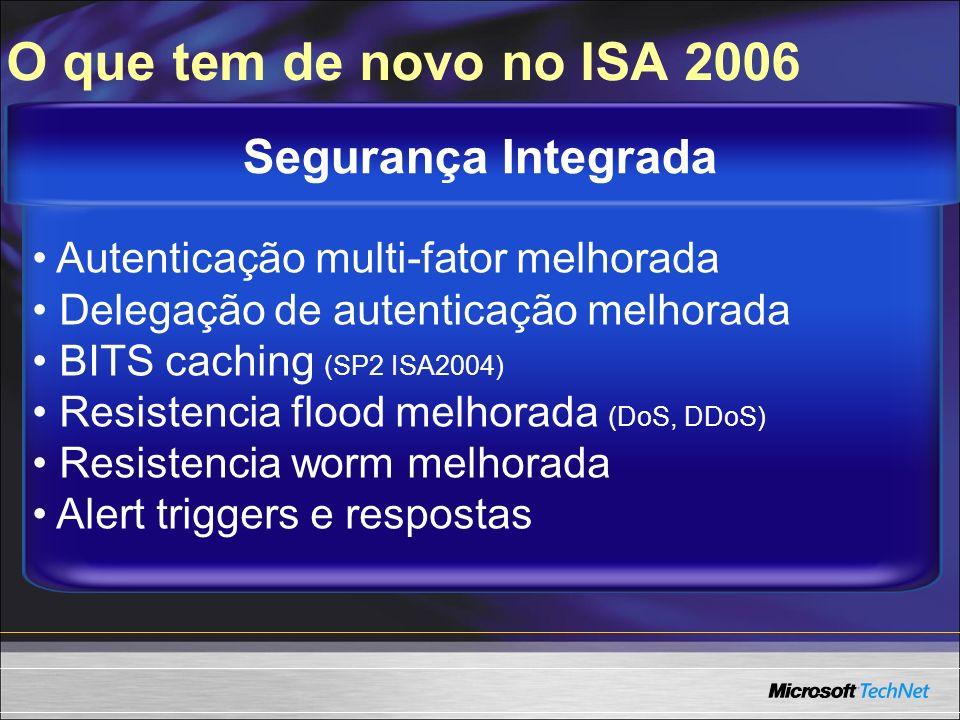 Administração certificados melhorada Publicar Web load balancing Arquivos de respostas Propagação rápida, otimização de banda Management Pack para MOM 2005 Gerenciamento Eficiente O que tem de novo no ISA 2006