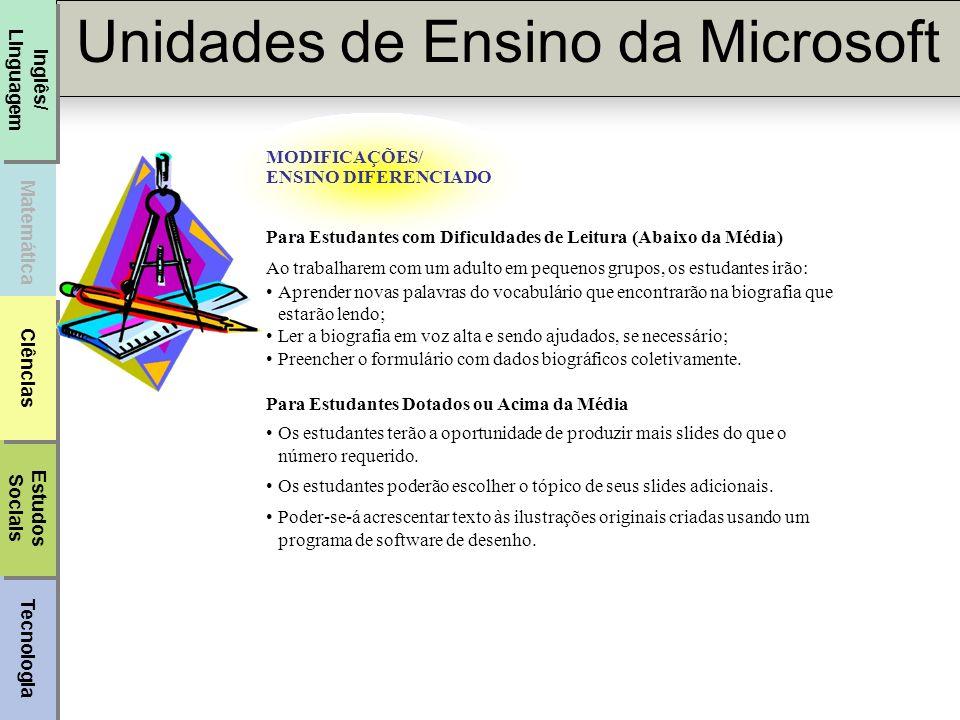 Tecnologia Unidades de Ensino da Microsoft Matemática Inglês/ Linguagem Estudos Sociais Estudos Sociais Ciências AVALIAÇÃO Quatro (Acima das Expectativas) O estudante cumpre com os requisitos básicos.