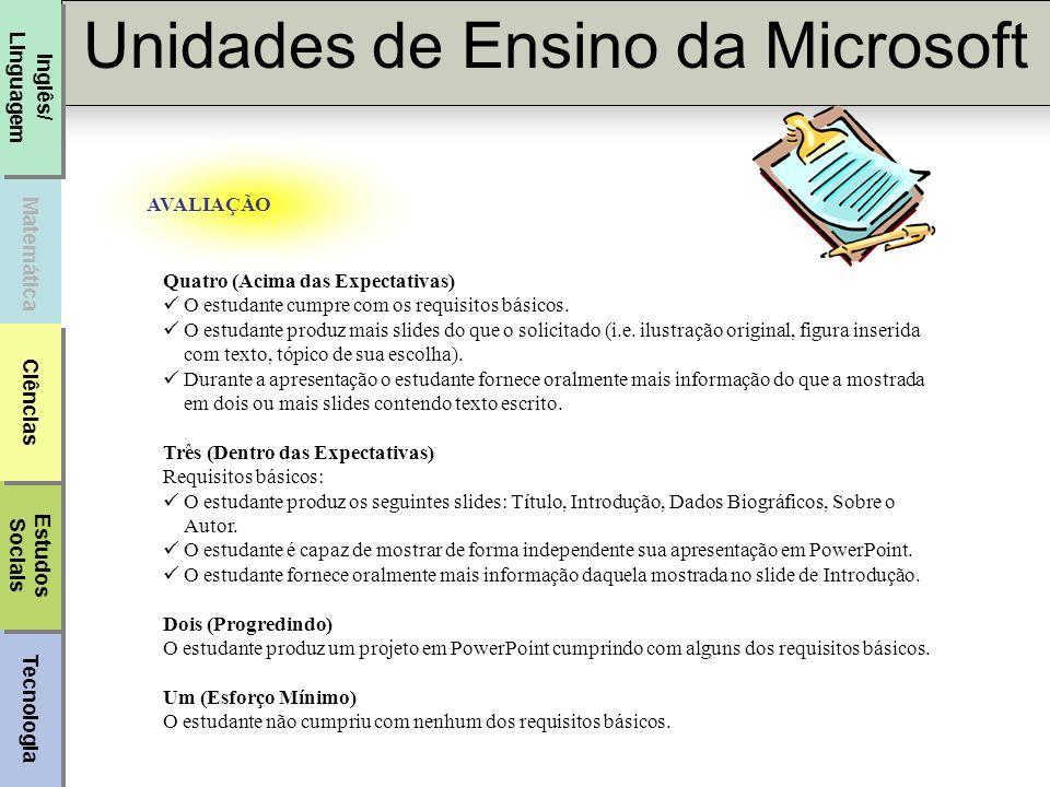 Tecnologia Unidades de Ensino da Microsoft Matemática Inglês/ Linguagem Estudos Sociais Estudos Sociais Ciências AVALIAÇÃO Quatro (Acima das Expectati