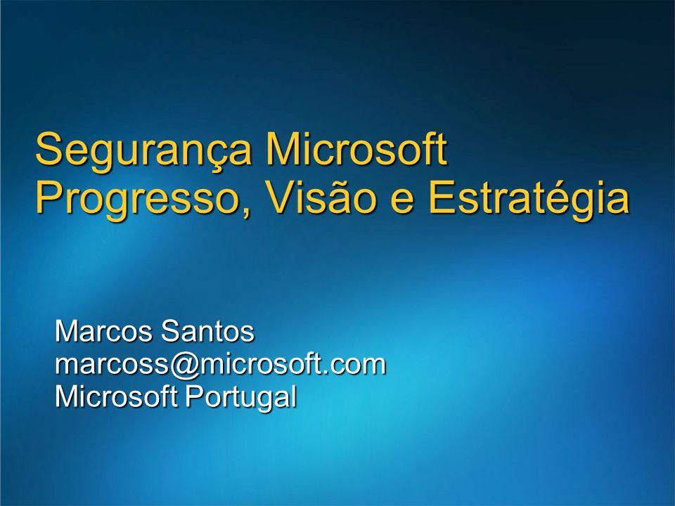 Marcos Santos marcoss@microsoft.com Microsoft Portugal Segurança Microsoft Progresso, Visão e Estratégia
