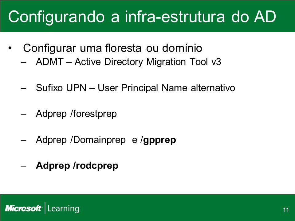 11 Configurando a infra-estrutura do AD Configurar uma floresta ou domínio –ADMT – Active Directory Migration Tool v3 –Sufixo UPN – User Principal Nam