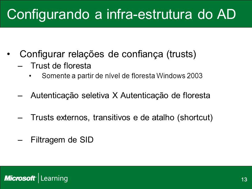 13 Configurando a infra-estrutura do AD Configurar relações de confiança (trusts) –Trust de floresta Somente a partir de nível de floresta Windows 200