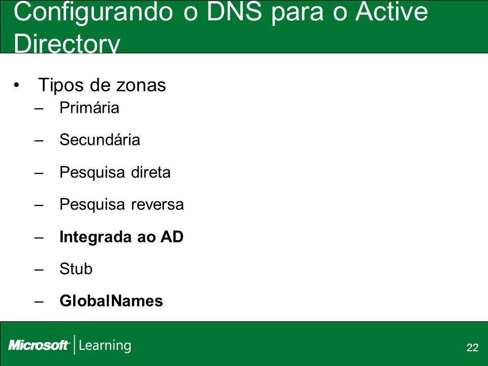 22 Configurando o DNS para o Active Directory Tipos de zonas –Primária –Secundária –Pesquisa direta –Pesquisa reversa –Integrada ao AD –Stub –GlobalNa