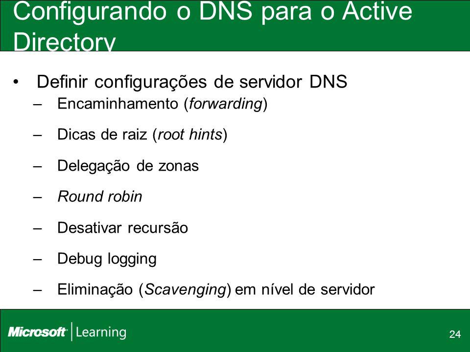 24 Configurando o DNS para o Active Directory Definir configurações de servidor DNS –Encaminhamento (forwarding) –Dicas de raiz (root hints) –Delegaçã