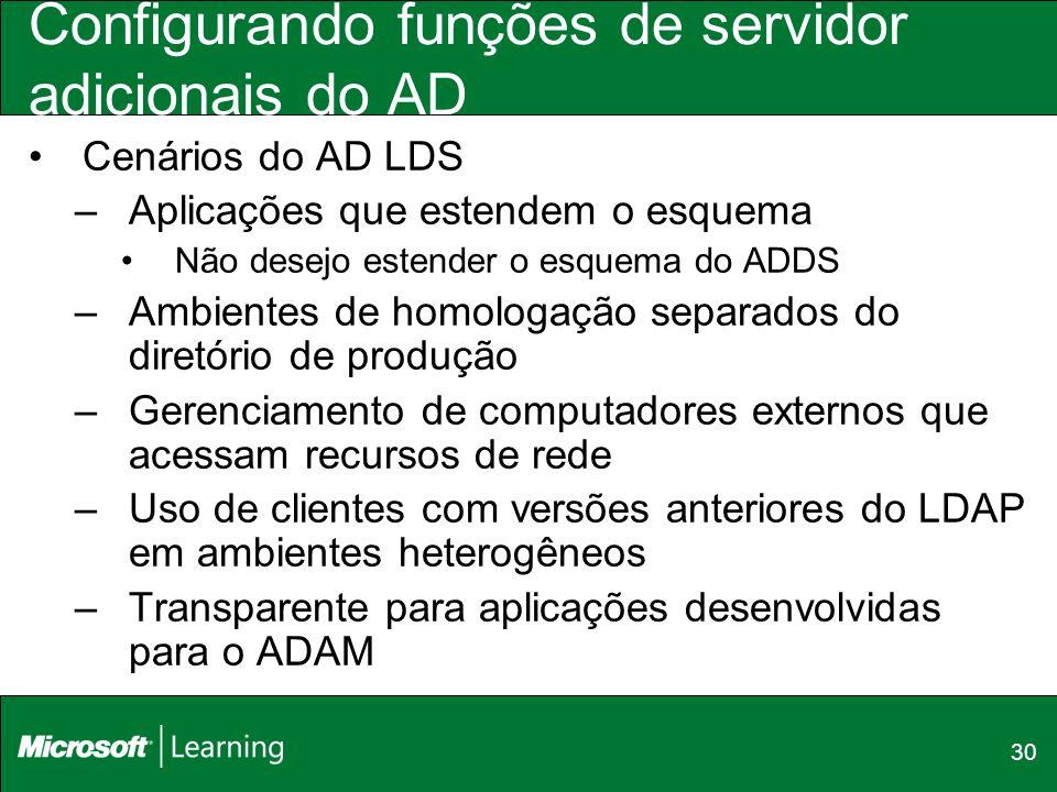 30 Configurando funções de servidor adicionais do AD Cenários do AD LDS –Aplicações que estendem o esquema Não desejo estender o esquema do ADDS –Ambi