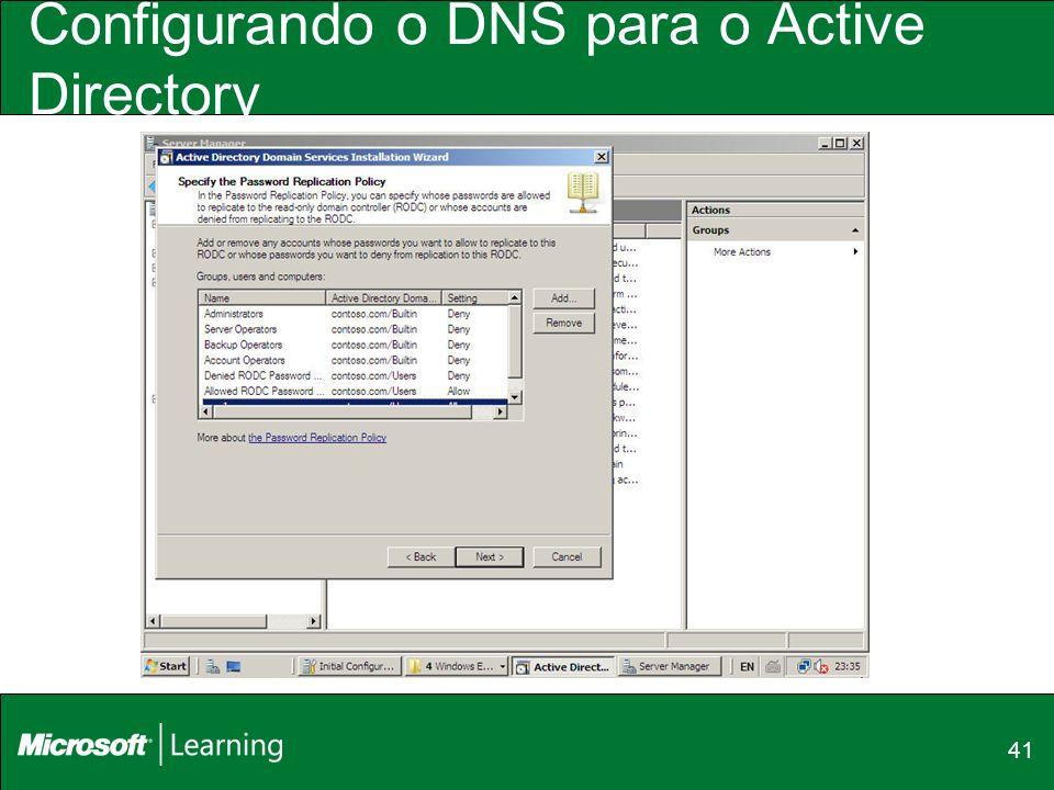 41 Configurando o DNS para o Active Directory