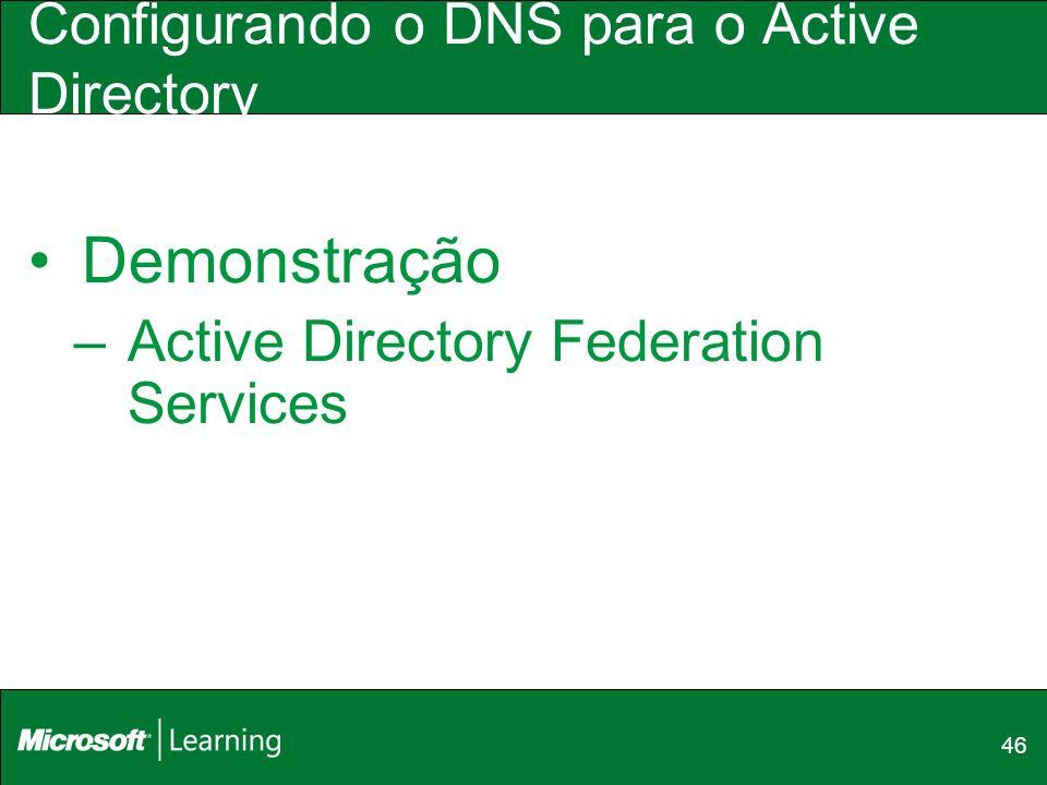 46 Configurando o DNS para o Active Directory Demonstração –Active Directory Federation Services