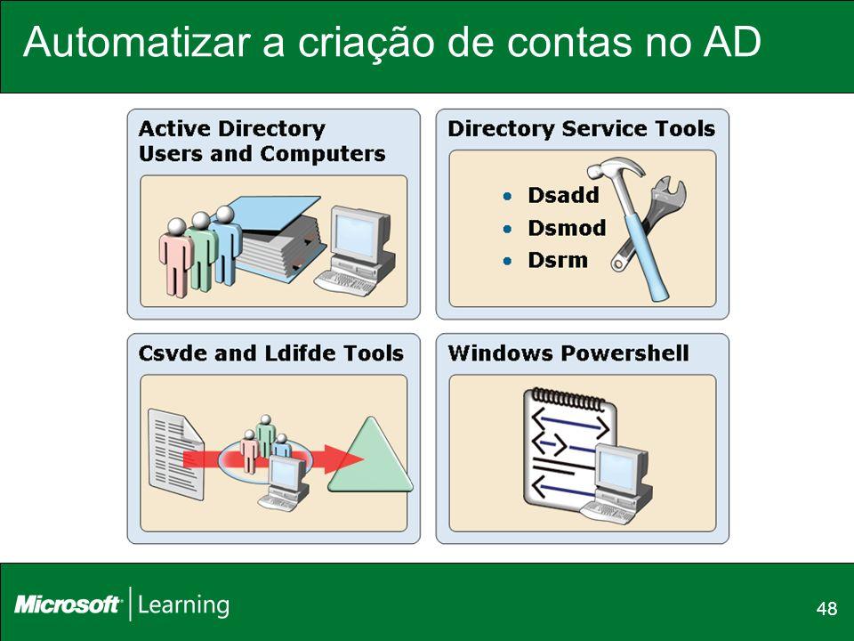 Automatizar a criação de contas no AD 48