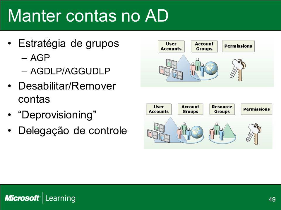 Manter contas no AD Estratégia de grupos –AGP –AGDLP/AGGUDLP Desabilitar/Remover contas Deprovisioning Delegação de controle 49