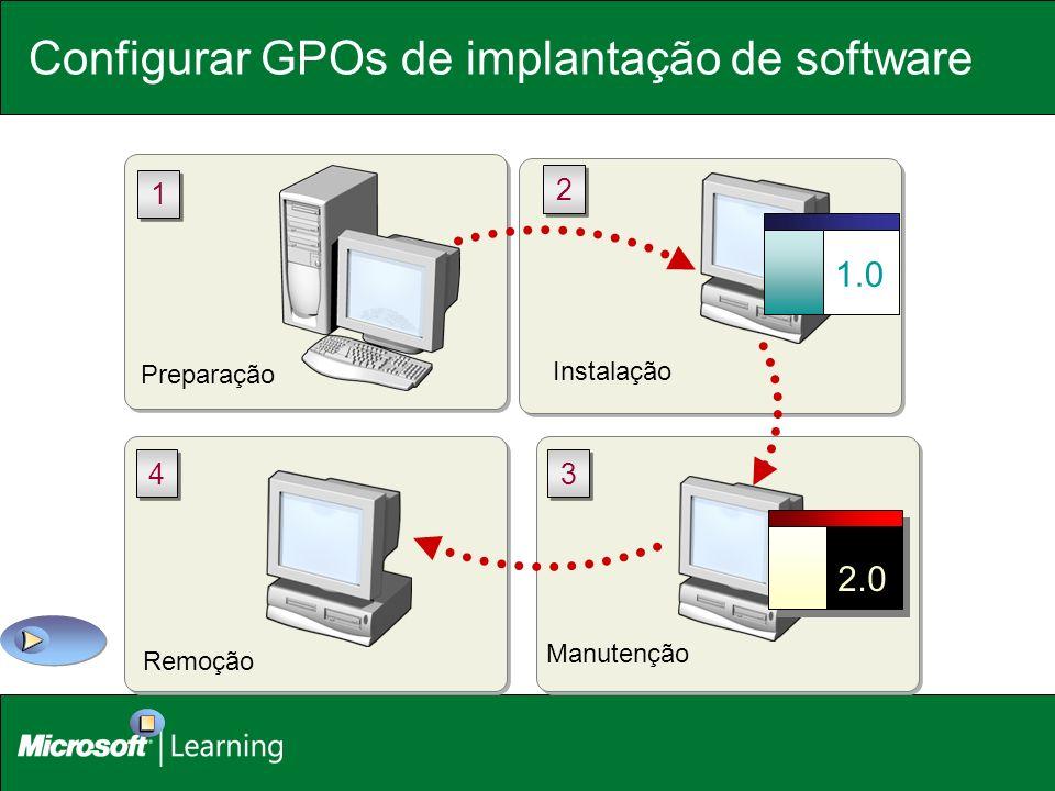Preparação 1 1 Configurar GPOs de implantação de software Instalação 1.0 2 2 Manutenção 2.0 3 3 Remoção 4 4