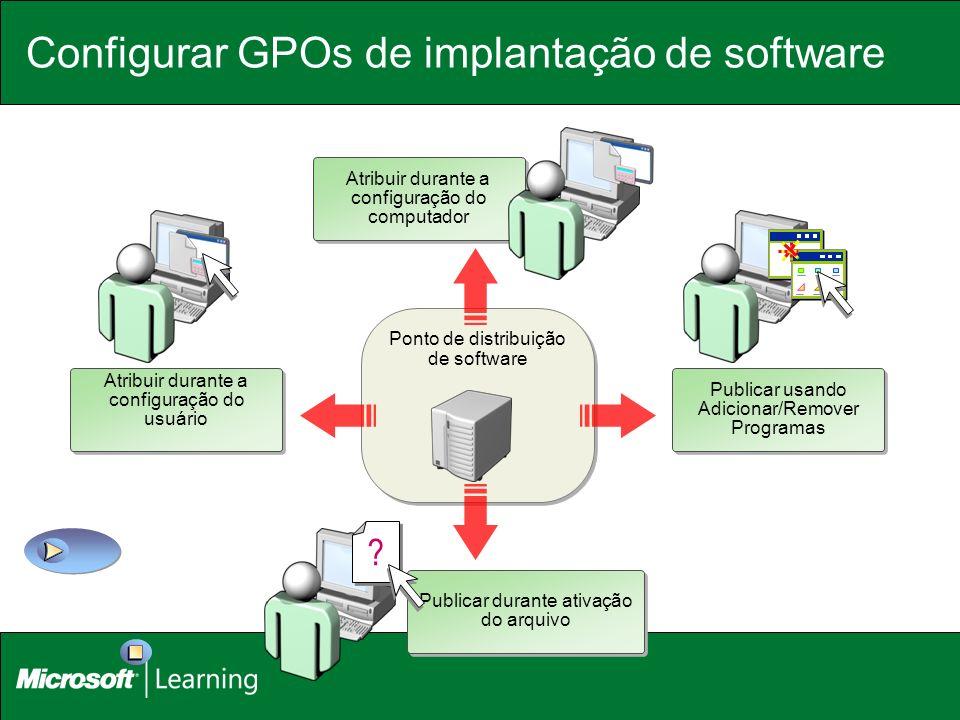 Ponto de distribuição de software Configurar GPOs de implantação de software Publicar durante ativação do arquivo ? Publicar usando Adicionar/Remover