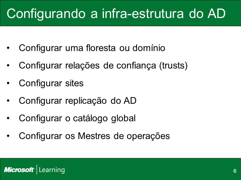 6 Configurando a infra-estrutura do AD Configurar uma floresta ou domínio Configurar relações de confiança (trusts) Configurar sites Configurar replic