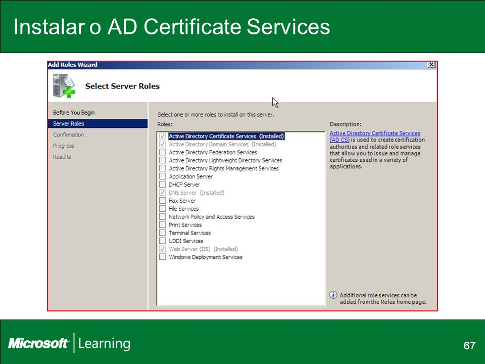 Instalar o AD Certificate Services 67