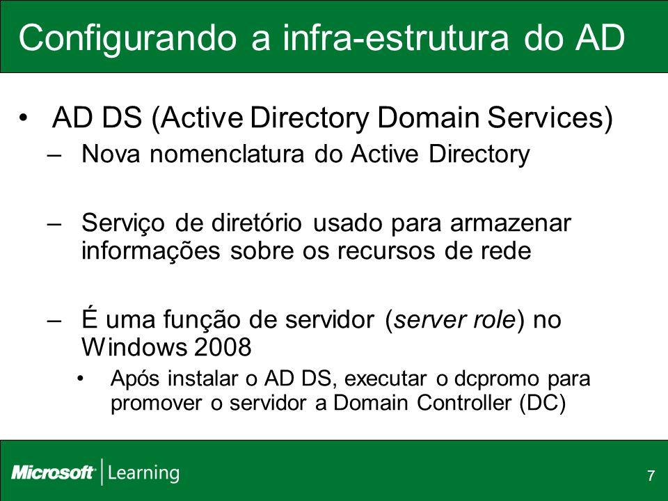 7 Configurando a infra-estrutura do AD AD DS (Active Directory Domain Services) –Nova nomenclatura do Active Directory –Serviço de diretório usado par