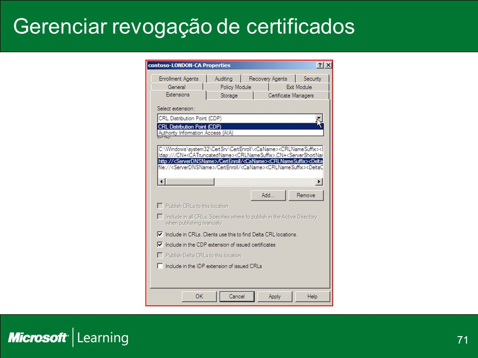 Gerenciar revogação de certificados 71