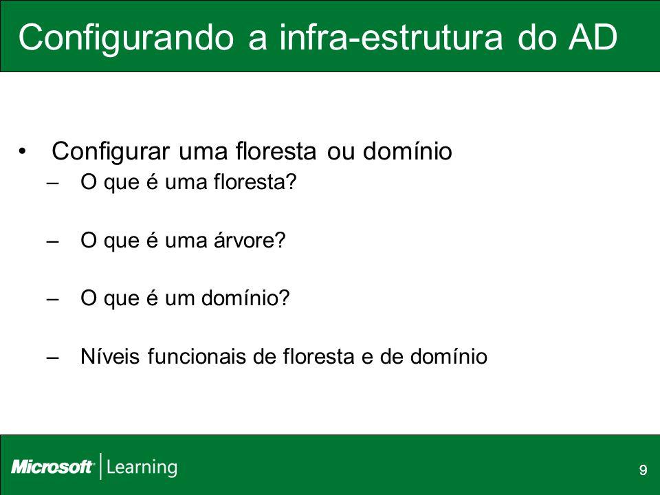9 Configurando a infra-estrutura do AD Configurar uma floresta ou domínio –O que é uma floresta? –O que é uma árvore? –O que é um domínio? –Níveis fun