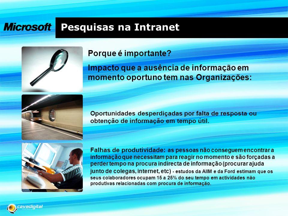 Pesquisas na Intranet Porque é importante? Impacto que a ausência de informação em momento oportuno tem nas Organizações: Tomadas de decisão com base
