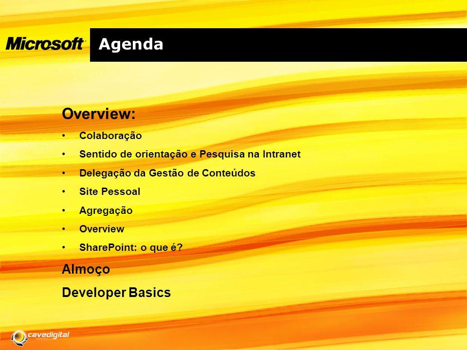 Agenda Overview: Colaboração Sentido de orientação e Pesquisa na Intranet Delegação da Gestão de Conteúdos Site Pessoal Agregação Overview SharePoint: o que é.