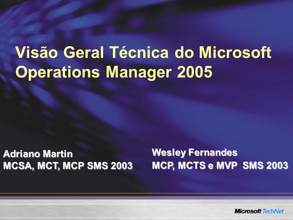 MOM Reporting Services Novo SQL Reporting Services Não é um Access Runtime (MOM 2000) Interface Web usando o IIS Arquitetura.NET Expansível com o Visual Studio.NET Relatórios exportáveis Excel, PDF, HTML, gráficos…