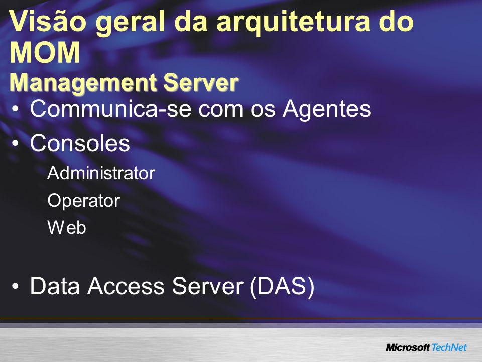Communica-se com os Agentes Consoles Administrator Operator Web Data Access Server (DAS) Management Server Visão geral da arquitetura do MOM Managemen