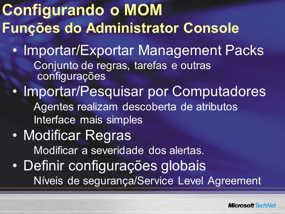 Configurando o MOM Funções do Administrator Console Importar/Exportar Management Packs Conjunto de regras, tarefas e outras configurações Importar/Pes