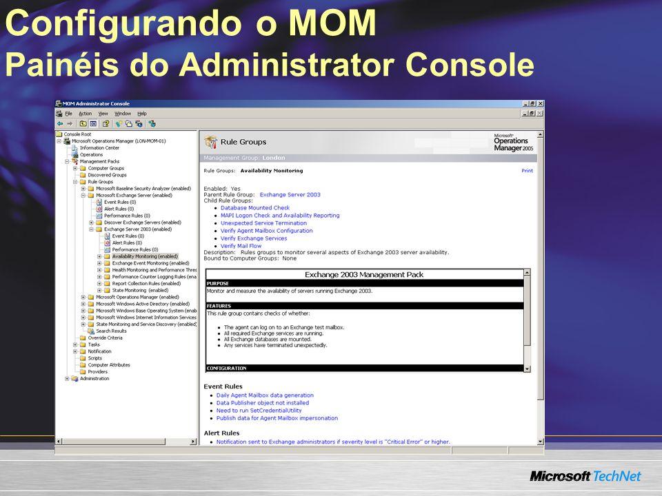 Configurando o MOM Painéis do Administrator Console