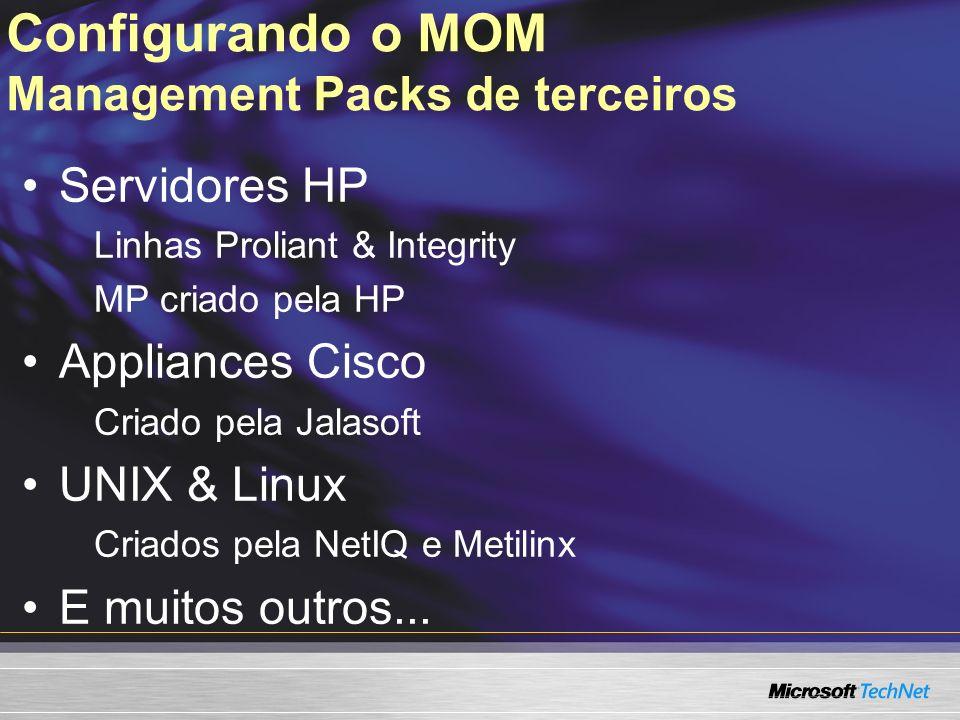 Configurando o MOM Management Packs de terceiros Servidores HP Linhas Proliant & Integrity MP criado pela HP Appliances Cisco Criado pela Jalasoft UNI