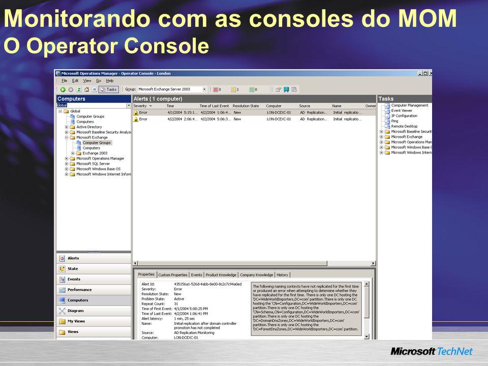 Monitorando com as consoles do MOM O Operator Console