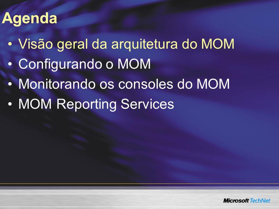 Visão geral da arquitetura do MOM Visão geral da arquitetura do MOM Visão geral da arquitetura do MOM 2005 Workflow: O Administrator Console e o Operator Console Grupos de configuração e Alertas demonstração demonstração
