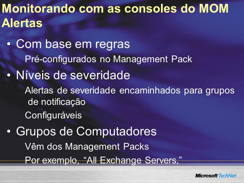 Monitorando com as consoles do MOM Alertas Com base em regras Pré-configurados no Management Pack Níveis de severidade Alertas de severidade encaminha