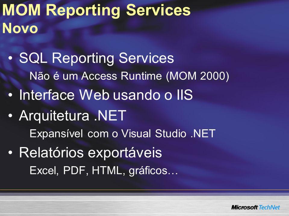 MOM Reporting Services Novo SQL Reporting Services Não é um Access Runtime (MOM 2000) Interface Web usando o IIS Arquitetura.NET Expansível com o Visu