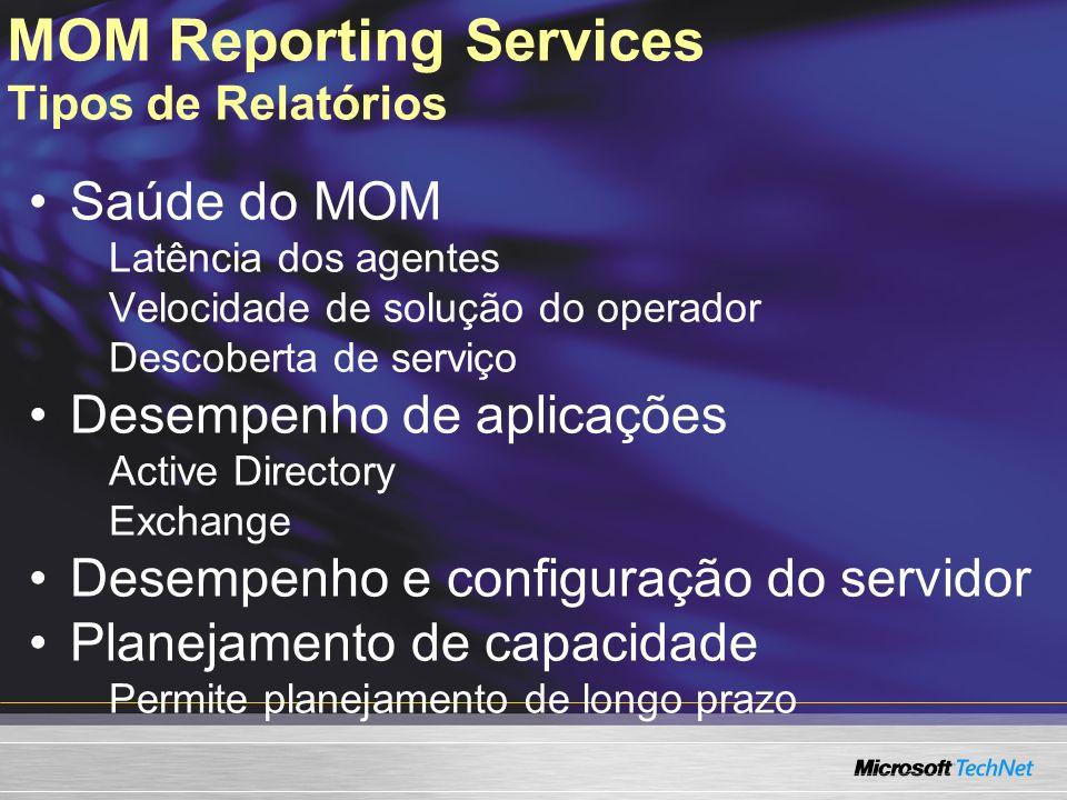 MOM Reporting Services Tipos de Relatórios Saúde do MOM Latência dos agentes Velocidade de solução do operador Descoberta de serviço Desempenho de apl