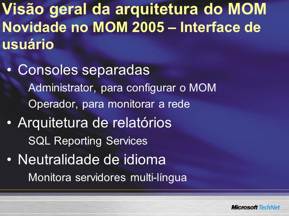 Visão geral da arquitetura do MOM Novidade no MOM 2005 – Interface de usuário Consoles separadas Administrator, para configurar o MOM Operador, para m