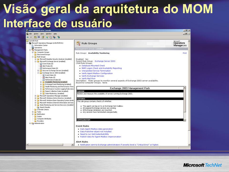 Alert MOM generates alert MMC MOM Admin creates processing rules and sets notifications Visão geral da arquitetura do MOM Workflow