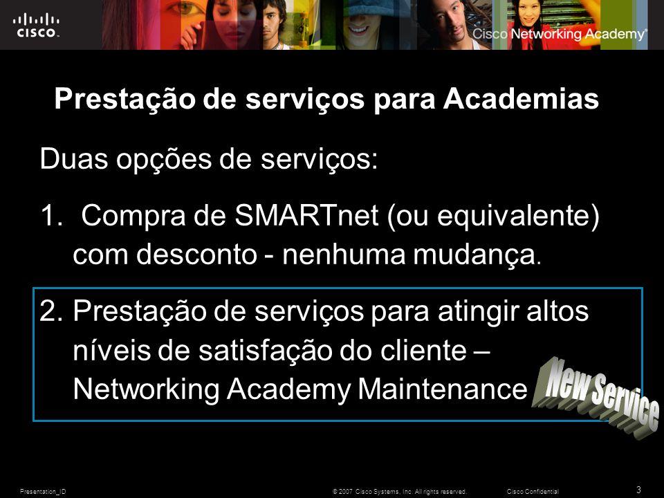 Presentation_ID 3 © 2007 Cisco Systems, Inc. All rights reserved.Cisco Confidential Prestação de serviços para Academias Duas opções de serviços: 1. C