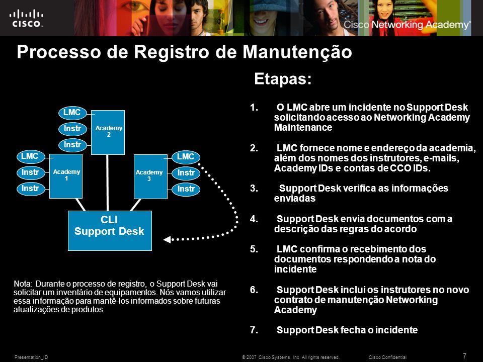 Presentation_ID 7 © 2007 Cisco Systems, Inc. All rights reserved.Cisco Confidential Processo de Registro de Manutenção Etapas: 1. O LMC abre um incide