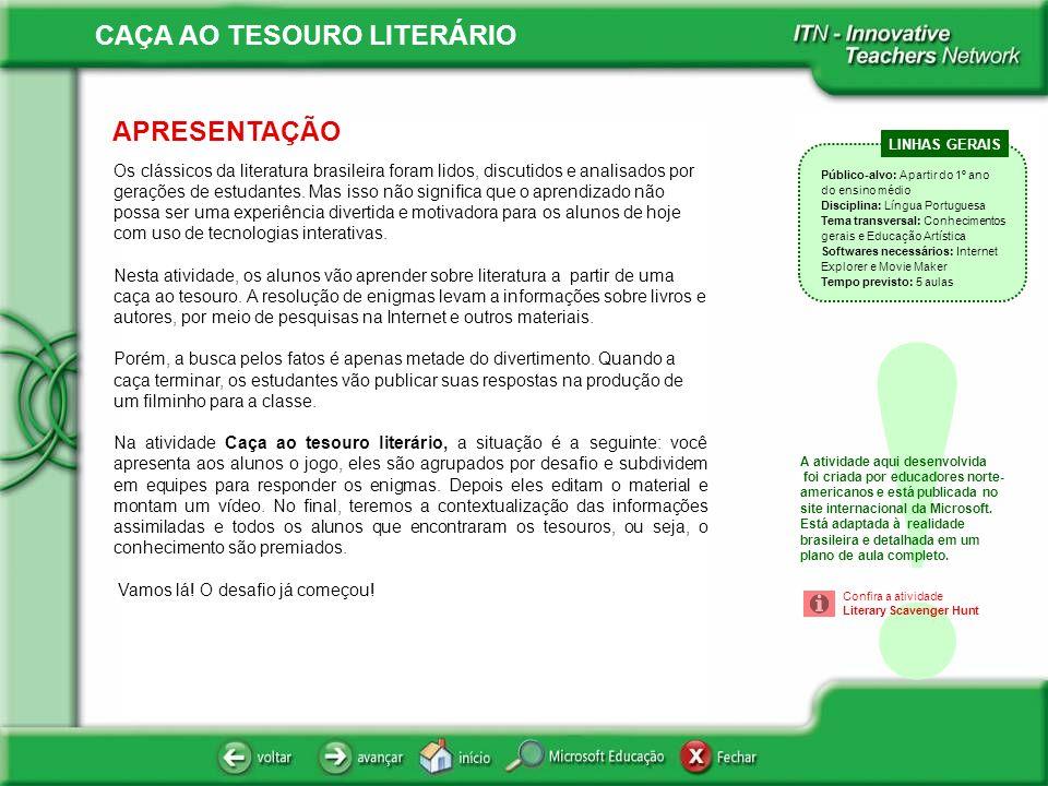 CAÇA AO TESOURO LITERÁRIO ÍNDICE .