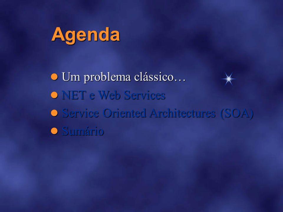 Agenda Um problema clássico… Um problema clássico….NET e Web Services.NET e Web Services Service Oriented Architectures (SOA) Service Oriented Architectures (SOA) Sumário Sumário Console.WriteLine( Duracao: {0}m, 40 + ( -15 + new Random().