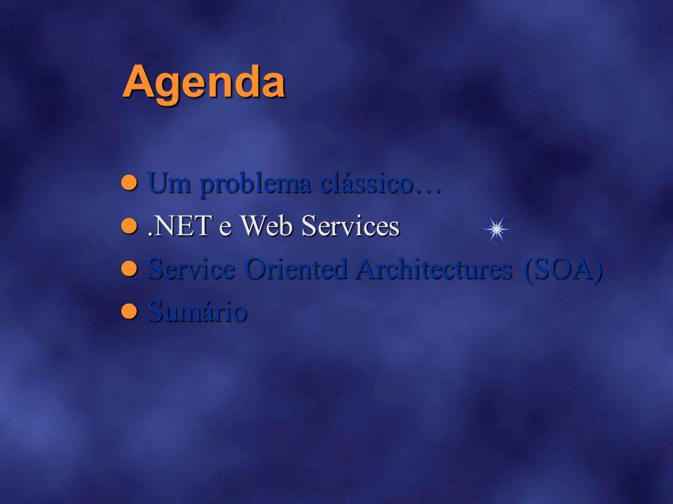 Agenda Um problema clássico Um problema clássico NET e Web Services NET e Web Services Service Oriented Architectures (SOA) Service Oriented Architectures (SOA) Sumário Sumário